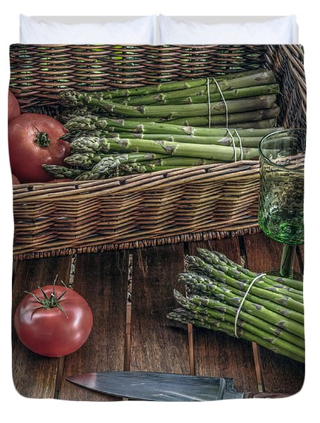 Still Life With Asparagus And Tomatoes Duvet Cover