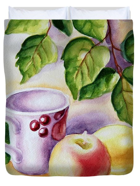 Still Life With Cup And Fruits Duvet Cover
