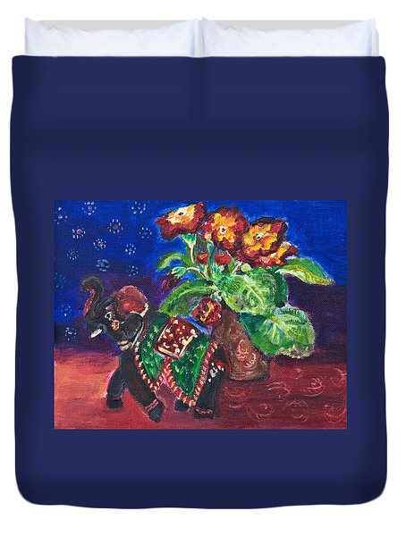 Still Life With Elephant Figure And Prrimulas Duvet Cover