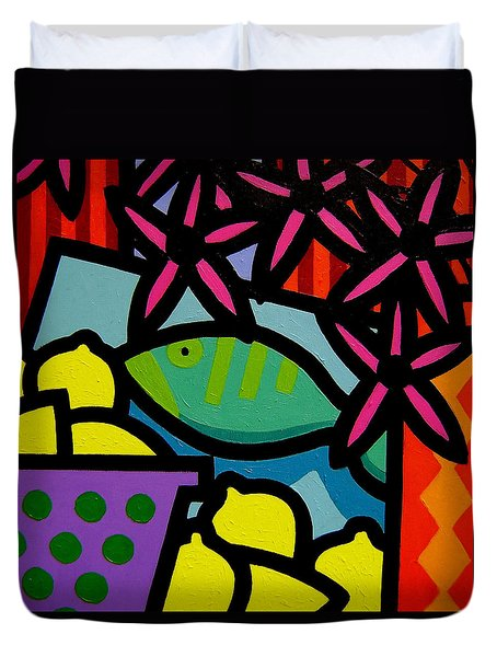 Still Life With Fish Duvet Cover by John  Nolan