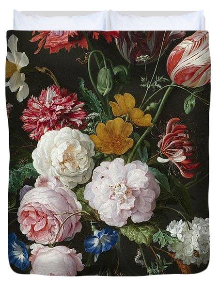 Still Life With Flowers In Glass Vase Duvet Cover