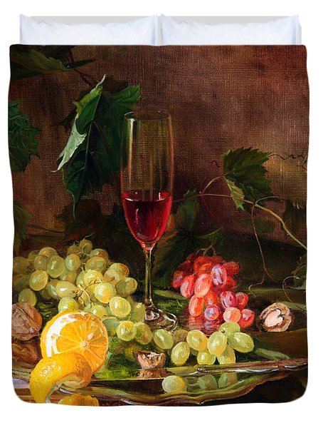 Still Life With Grapes And Grapevine Duvet Cover