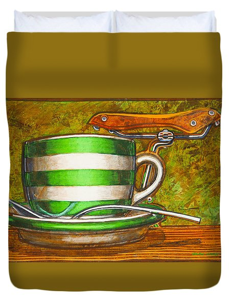 Still Life With Green Stripes And Saddle  Duvet Cover by Mark Jones