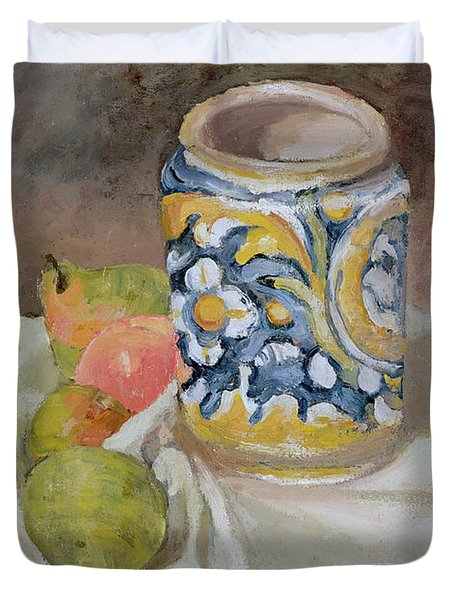 Still Life With Italian Earthenware Jar Duvet Cover by Paul Cezanne
