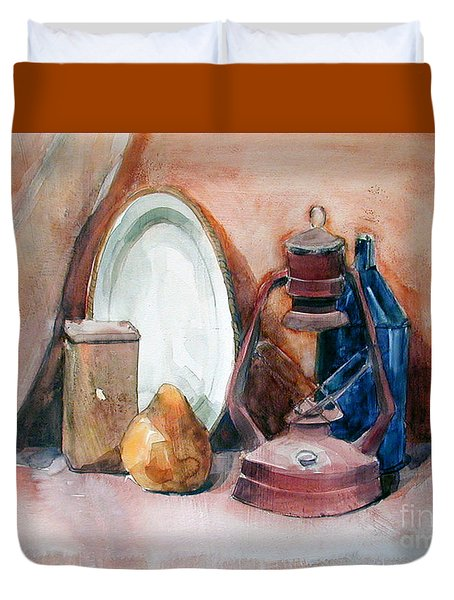Duvet Cover featuring the painting Still Life With Miners Lamp by Greta Corens