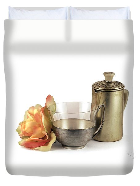 Duvet Cover featuring the photograph Still Life With Old Cup Rose And Coffe Pot by Raffaella Lunelli