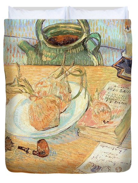 Still Life With Onions Duvet Cover by Vincent van Gogh