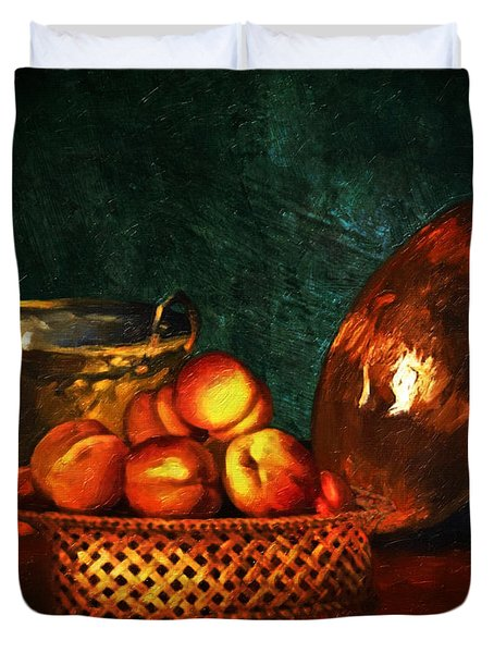 Duvet Cover featuring the digital art Still Life With Peaches And Copper Bowl by Lianne Schneider