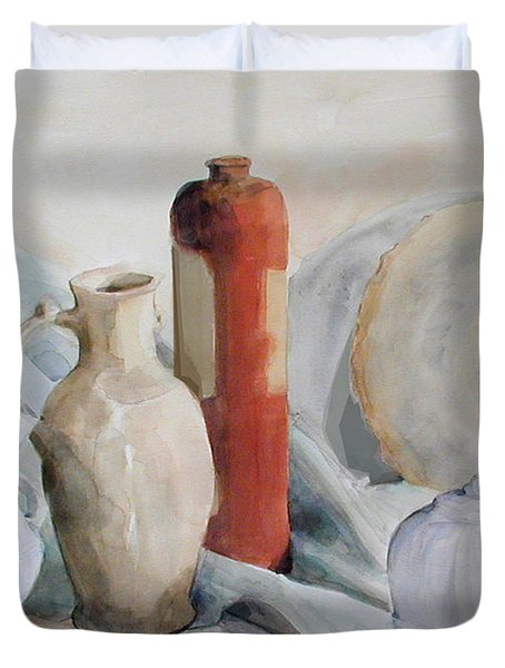 Watercolor Still Life With Pottery And Stone Duvet Cover