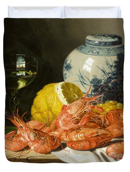 Still Life With Prawns And Lemon Duvet Cover by Edward Ladell