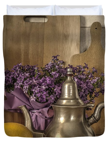 Still Life With Purple Flowers And Citron Duvet Cover