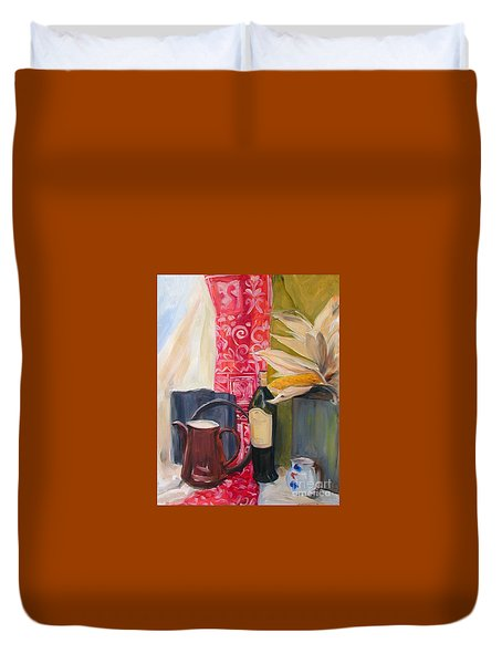 Duvet Cover featuring the painting Still Life With Red Cloth And Pottery by Greta Corens