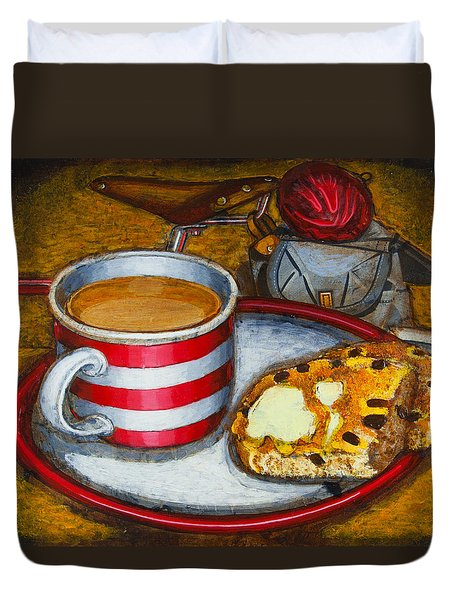 Still Life With Red Touring Bike Duvet Cover by Mark Jones