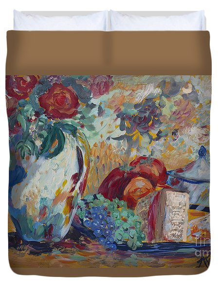 Duvet Cover featuring the painting Still Life With Roses by Avonelle Kelsey