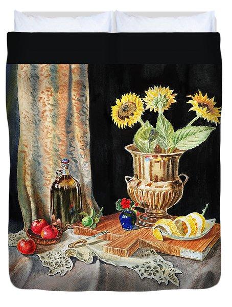 Still Life With Sunflowers Lemon Apples And Geranium  Duvet Cover by Irina Sztukowski