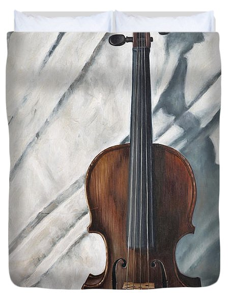 Still Life With Violin Duvet Cover by John Lautermilch