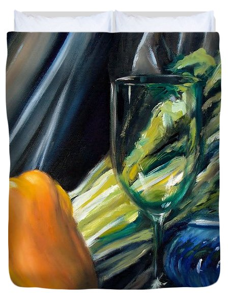 Still Life With Yellow Pepper Bok Choy Glass And Dish Duvet Cover by Donna Tuten