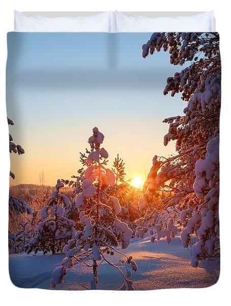 Still Standing In The Winter Sunset Duvet Cover