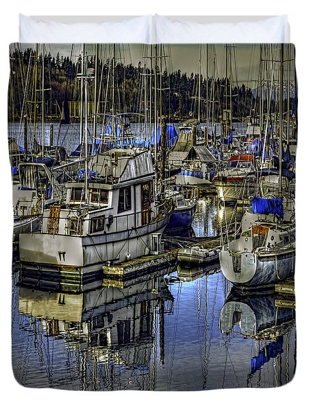 Duvet Cover featuring the photograph Still Water Masts by Jean OKeeffe Macro Abundance Art