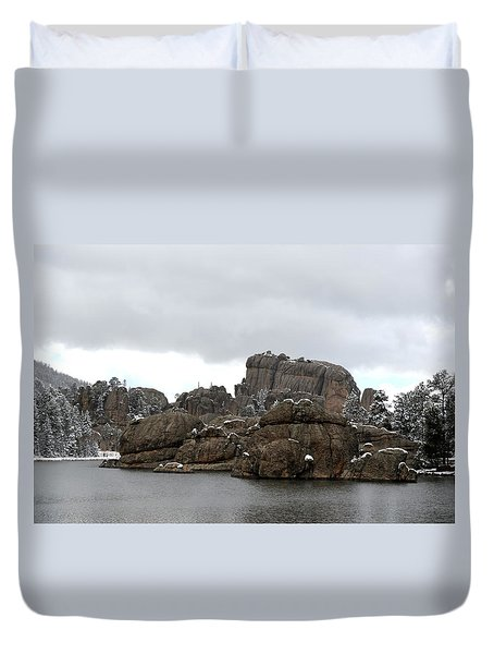 Sylvan Lake In October Duvet Cover by Clarice  Lakota