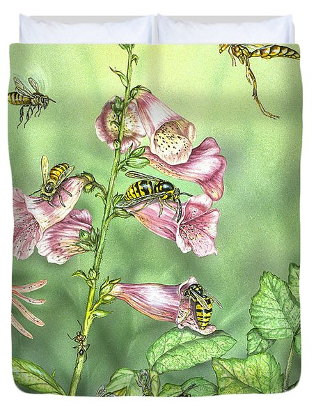 Stinging Insects In Garden Scene Duvet Cover