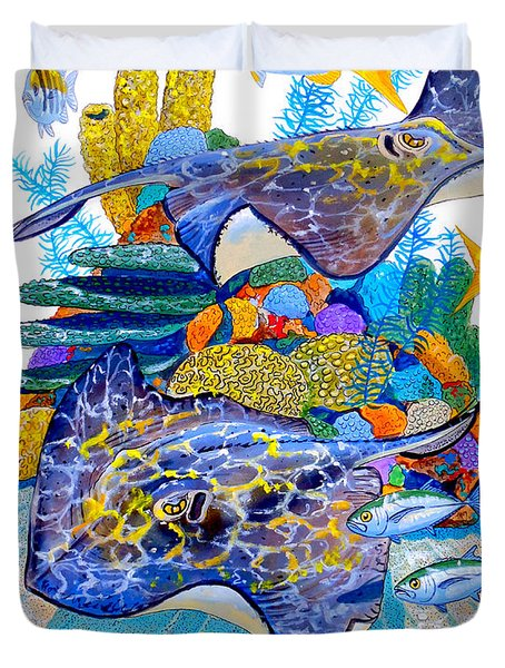 Stingray Play Duvet Cover by Carey Chen