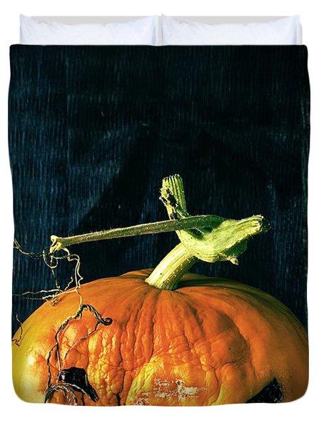 Stingy Jack - Scary Halloween Pumpkin Duvet Cover by Edward Fielding