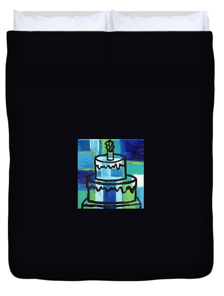 Stl250 Birthday Cake Blue And Green Small Abstract Duvet Cover