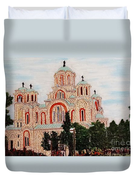 Duvet Cover featuring the painting St.marko Church Belgrade by Jasna Gopic