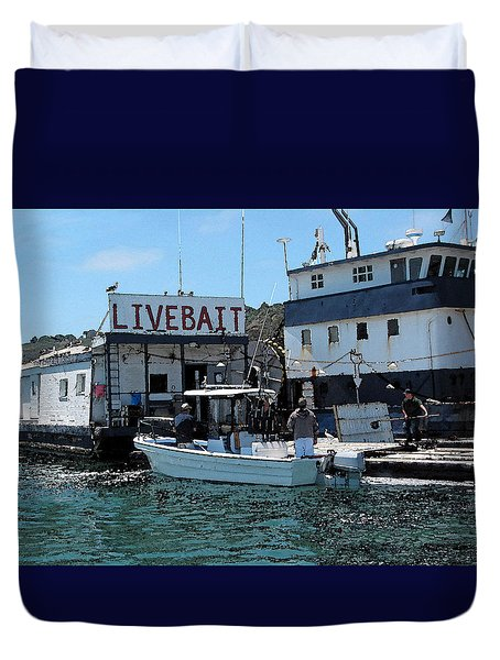 Stocking Up On Live Bait Duvet Cover by Cedric Hampton