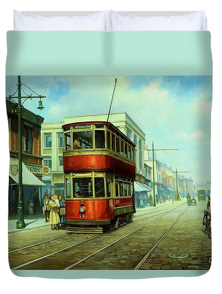 Stockport Tram. Duvet Cover by Mike  Jeffries