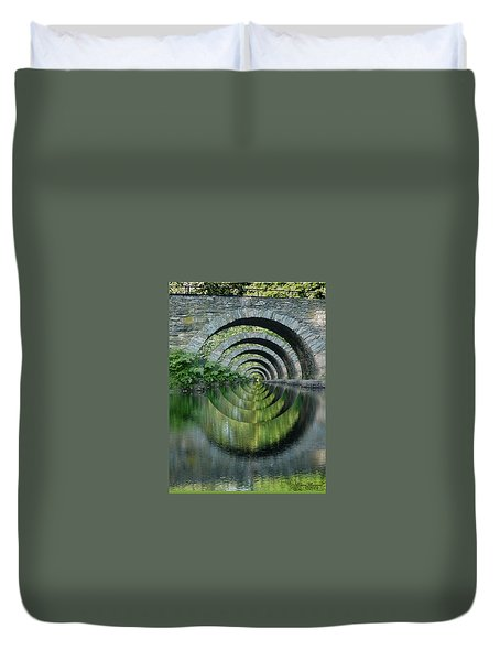 Stone Arch Bridge Over Troubled Waters - 1st Place Winner Faa Optical Illusions 2-26-2012 Duvet Cover by EricaMaxine  Price