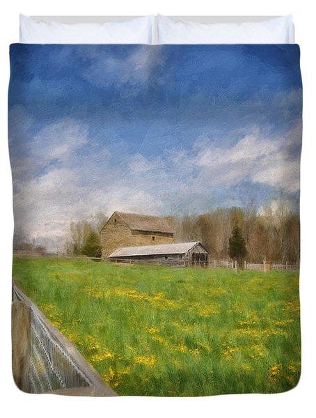 Stone Barn On A Spring Morning Duvet Cover