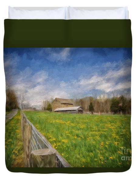 Duvet Cover featuring the photograph Stone Barn On A Spring Morning by Lois Bryan