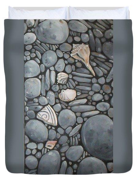 Stone Beach Keepsake Rocky Beach Shells And Stones Duvet Cover