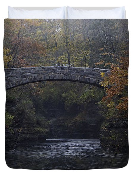 Stone Bridge In Autumn II Duvet Cover