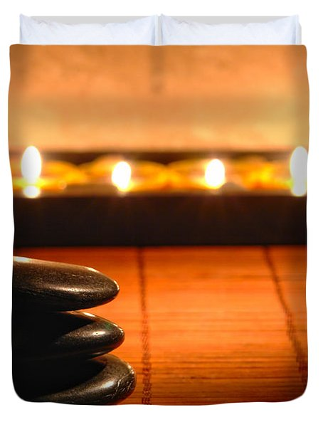 Stone Cairn And Candles For Quiet Meditation Duvet Cover