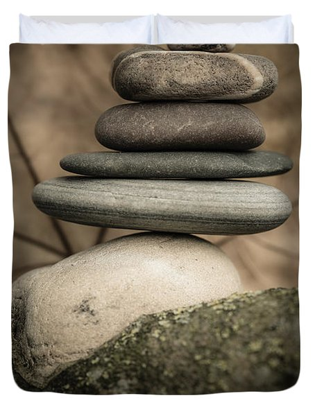 Stone Cairns Iv Duvet Cover by Marco Oliveira
