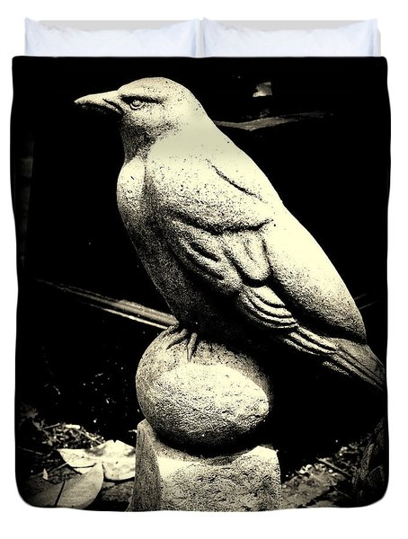 Stone Crow On Stone Ball Duvet Cover