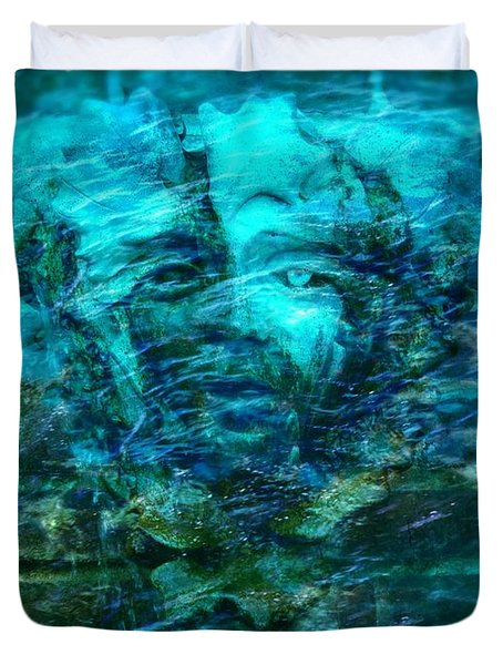 Stone Face Under The Water Duvet Cover by Lilia D