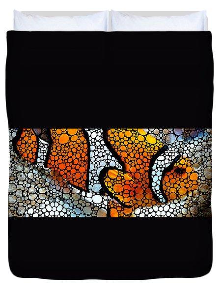 Stone Rock'd Clown Fish By Sharon Cummings Duvet Cover by Sharon Cummings