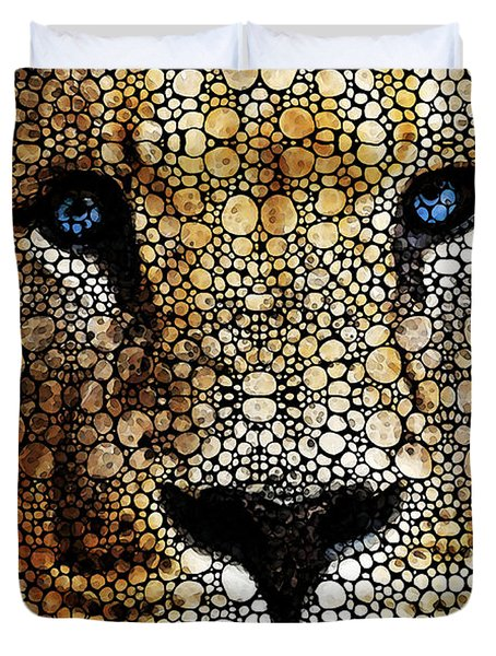 Stone Rock'd Lion 2 - Sharon Cummings Duvet Cover