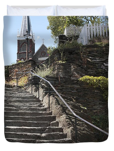 Stone Steps And Saint Peters Church At Harpers Ferry Duvet Cover