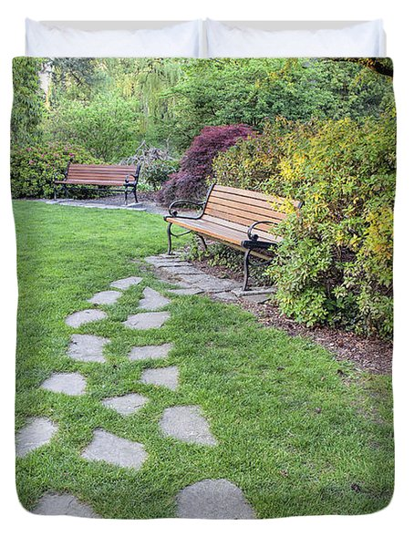 Stone Steps To Park Bench Duvet Cover by Jit Lim