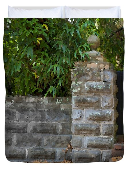 Stone Wall And Gate Duvet Cover by Rich Franco