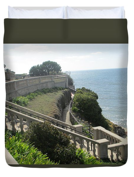 Stone Wall Over The Sea Duvet Cover by Vivien Rhyan