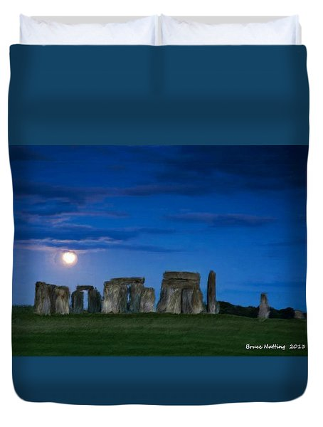 Duvet Cover featuring the painting Stonehenge At Night by Bruce Nutting