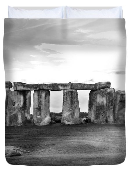 Stonehenge In The Rain Duvet Cover