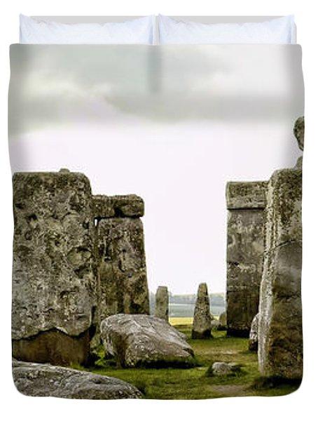 Stonehenge Panorama Duvet Cover by Jon Berghoff