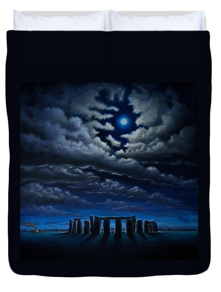Duvet Cover featuring the painting Stonehenge - The People's Circle by Ric Nagualero